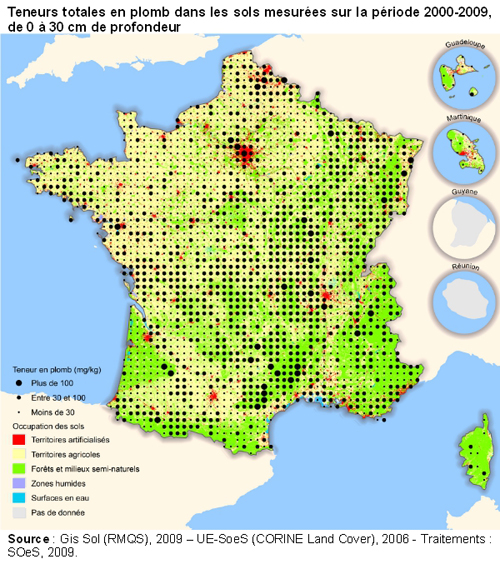 Pollution au plomb des sols en France